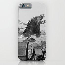 Old Time Godzilla Manhattan Bridge iPhone Case