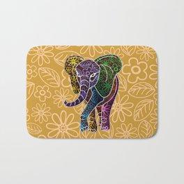 Elephant Floral Batik Art Design Bath Mat