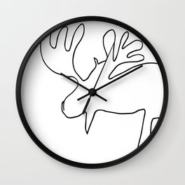 Line Moose Wall Clock