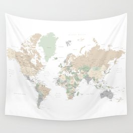 "World map with cities, ""Anouk"" Wall Tapestry"