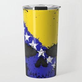 Flag of Bosnia - Herzegovina on a Chaotic Splatter Skull Travel Mug