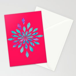 Watercolor Burst With Marble - Pink & Blue Stationery Cards