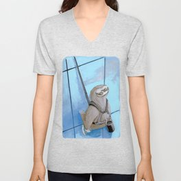 Sloths Are Bad At Things- Xander the Window Washer!  Unisex V-Neck