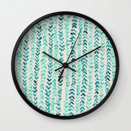 Hand Painted Herringbone Pattern in Mint Wall Clock