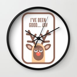 Rudolph Red Nose Reindeer Naughty Nice Good Bad List Funny Wall Clock