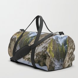 Winter and spring valley and mountains Duffle Bag