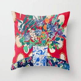 Wildflowers in a Lion Vase on Red Floral Still Life Painting After Matisse Throw Pillow