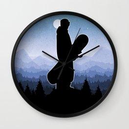 Snowboard Skyline Stand Wall Clock