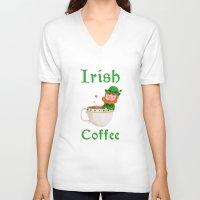 irish V-neck T-shirts featuring Irish Coffee by Supergna