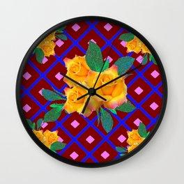 Triple Golden Rose Bouquet Purple-Blue Art Wall Clock