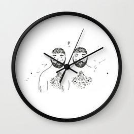 twins with forests on their chins and chests Wall Clock