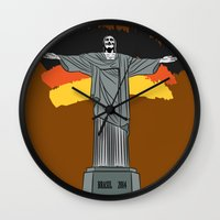 brasil Wall Clocks featuring Brasil 2014 by andy551