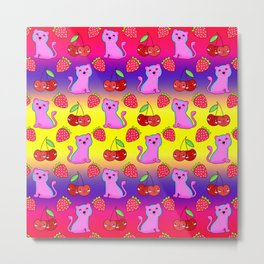 Cute funny sweet adorable little pink baby tigers, little cherries and red ripe summer strawberries cartoon fantasy yellow purple pattern design Metal Print