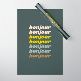Bonjour in Pretty Pastels Wrapping Paper