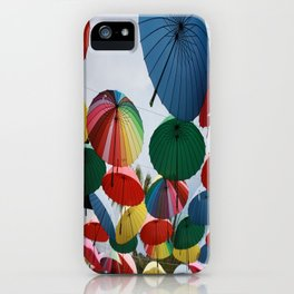 Street Decorated With Colored Umbrellas iPhone Case
