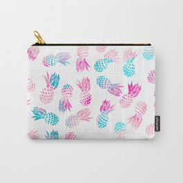 Modern summer tropical pineapple watercolor illustration pattern Carry-All Pouch