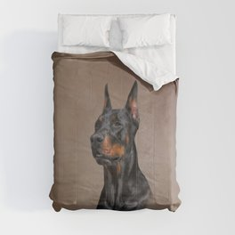 Drawing Doberman dog Comforters