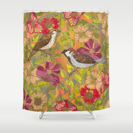 Sweet Sparrows and Briar Rose Shower Curtain