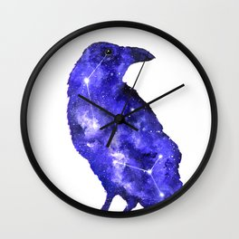 Purple Raven Painting   Space Raven   Raven Constellation   Space Animals Wall Clock