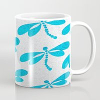 dragonfly Mugs featuring Dragonfly  by Saundra Myles