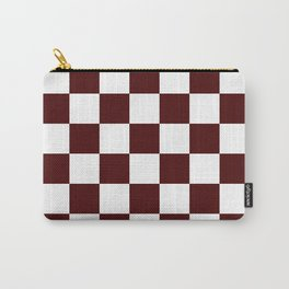 Checkered - White and Bulgarian Rose Red Carry-All Pouch