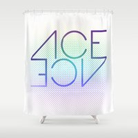 ace Shower Curtains featuring Ace Ace by Covered In Moons