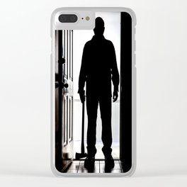 Bad Man at door in silhouette with axe Clear iPhone Case