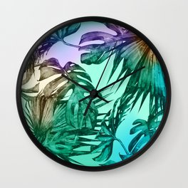 Simply Palm Leaves in Hologram Island Green Wall Clock