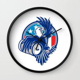 American Bald Eagle Beer Keg Flag Circle Retro Wall Clock