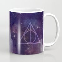 deathly hallows Mugs featuring Deathly Hallows in Space by Hannah Ison
