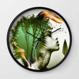Teal Afro Wall Clock