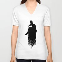 justice league V-neck T-shirts featuring Justice Silhouette #2 by iankingart