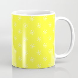 White on Electric Yellow Snowflakes Coffee Mug