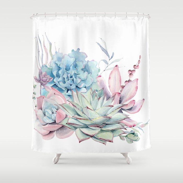 Pretty Pastel Succulents Shower Curtain by naturemagick | Society6