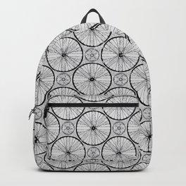 Bicycle Wheels Cycling Pattern - Grey Black Backpack