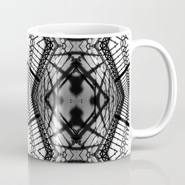 Abstract mirrored photography collage of iron fence and its shadows in black and white Coffee Mug