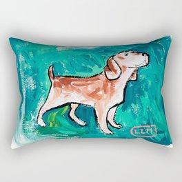 Beagle Dog Painting on Emerald Green Rectangular Pillow