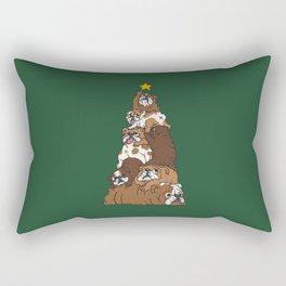 Christmas Tree English Bulldog Rectangular Pillow