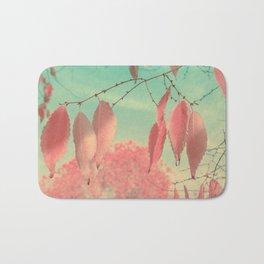 Flamingo Pink Autumn Leaves Bath Mat