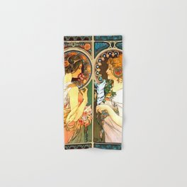 Alphonse Mucha Primrose And Feather Hand & Bath Towel