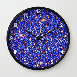 Blue Sub-atomic Lattice Wall Clock