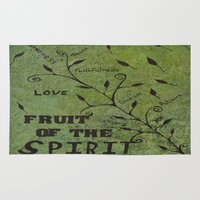 religious Area & Throw Rugs featuring Faith Religious Art---Fruit of the Spirit---Bible Scripture Galations 5:22 by Saribelle rodriguez by Saribelle Inspirational Art