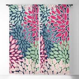 Bold Floral Pattern, Blue, Pink, Magenta, Teal, Green Blackout Curtain