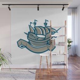 sailing ship galleon scroll Wall Mural