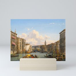 Friedrich Nerly – private collection. A View of the Grand Canal Looking Towards the Rialto Bridge, V Mini Art Print
