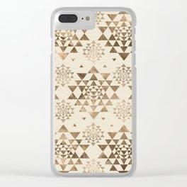 Sri Yantra  pattern - pastel gold Clear iPhone Case