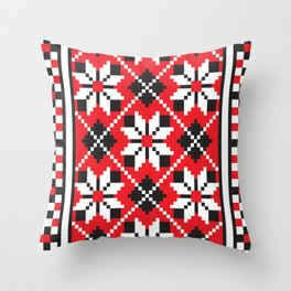 Slavik red, black and white floral cross stitch design pattern. Throw Pillow