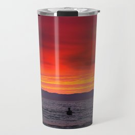 Surfers watching Sunset Travel Mug
