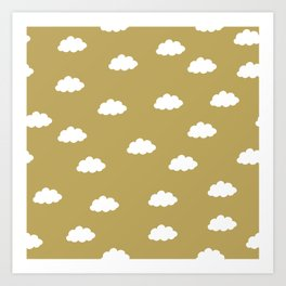 White clouds in green yellow background Art Print