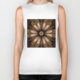 Abstract flower mandala with geometric texture Biker Tank